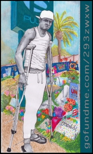 Comic style illustration by Hannah Miller of Junior Acosta Martinez. Junior is standing on crutches in black and white on a color background of the Pulse Nightclub, littered with tributes. Text on side is a link: gofundme.com/293zwxw